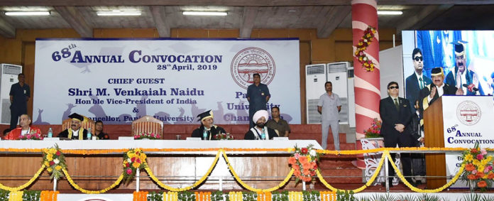 The Vice President, Shri M. Venkaiah Naidu addressing at the 68th Convocation of Panjab University, in Chandigarh, Punjab on April 28, 2019.