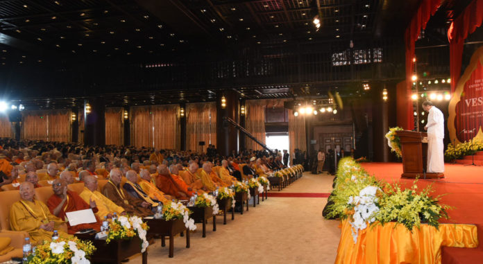 The Vice President, Shri M. Venkaiah Naidu addressing the gathering at the 16th United Nations Day of Vesak, at Tam Chuc Pagoda, in Ha Nam province of Vietnam on May 12, 2019.