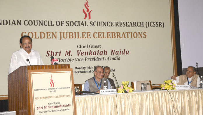 The Vice President, Shri M. Venkaiah Naidu addressing the gathering at the Golden Jubilee Celebrations of the Indian Council of Social Science Research, in New Delhi on May 13, 2019.
