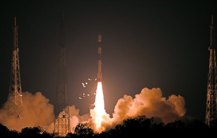 PSLV-C46 carrying the RISAT-2B satellite, lifting off from the Satish Dhawan Space Centre SHAR, Sriharikota, in Andhra Pradesh on May 22, 2019.