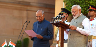 The President, Shri Ram Nath Kovind administering the oath of office of the Prime Minister to Shri Narendra Modi, at a Swearing-in Ceremony, at Rashtrapati Bhavan, in New Delhi on May 30, 2019.