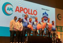The Delhi Capitals team with APL Apollo CMD Mr Sanjay Gupta and the two Special Olympics winners from SOS Children's Villages of India