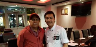 Cricketer Sunil Gavaskar with Chef Steven Lee at Hakkaland