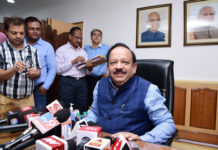Dr. Harsh Vardhan interacting with the media after taking charge as the Union Minister for Health and Family Welfare, in New Delhi on June 03, 2019.