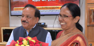 The Health Minister of Kerala, Smt. K.K. Shailaja meeting the Union Minister for Health & Family Welfare, Science & Technology and Earth Sciences, Dr. Harsh Vardhan, in New Delhi on June 07, 2019.