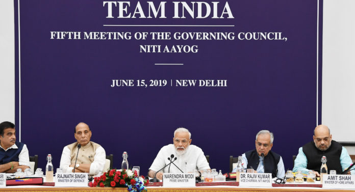 The Prime Minister, Shri Narendra Modi chairing the fifth meeting of the Governing Council of NITI Aayog, in New Delhi on June 15, 2019.