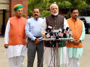 The Prime Minister, Shri Narendra Modi addressing the media before the start of 17th Lok Sabha, at Parliament House, in New Delhi on June 17, 2019. The Union Minister for Parliamentary Affairs, Coal and Mines, Shri Pralhad Joshi the Minister of State for Development of North Eastern Region (I/C), Prime Minister's Office, Personnel, Public Grievances & Pensions, Atomic Energy and Space, Dr. Jitendra Singh and the Minister of State for Parliamentary Affairs and Heavy Industries & Public Enterprises, Shri Arjun Ram Meghwal are also seen.