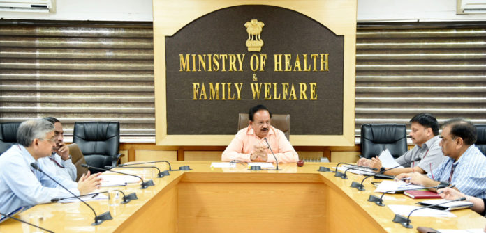 The Union Minister for Health & Family Welfare, Science & Technology and Earth Sciences, Dr. Harsh Vardhan chairing a high level multi-disciplinary expert group meeting to understand causes of child deaths due to AES/JE in Bihar, in New Delhi on June 18, 2019.