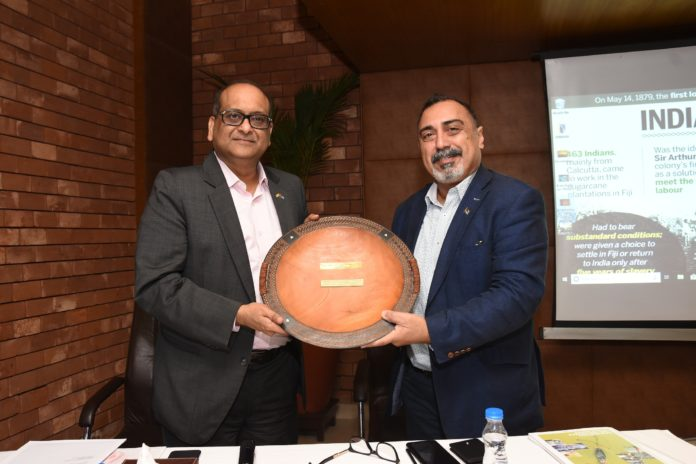 L- R Mr. Harsh Vardhan Patodia, newly appointed Honorary Consul of the Republic of Fiji in Kolkata being felicitated by His Excellency Yogesh Punja, Honorable High Commissioner of the Republic of Fiji to India at a Press conference to announce
