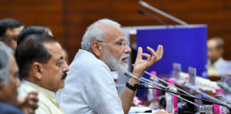 The Prime Minister, Shri Narendra Modi addressing the Inaugural Session of Assistant Secretaries (IAS Officers of 2017 batch), in New Delhi on July 02, 2019. The Minister of State for Development of North Eastern Region (I/C), Prime Minister's Office, Personnel, Public Grievances & Pensions, Atomic Energy and Space, Dr. Jitendra Singh is also seen.