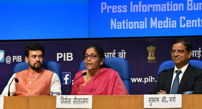 The Union Minister for Finance and Corporate Affairs, Smt. Nirmala Sitharaman addressing a Post Budget Press Conference, in New Delhi on July 05, 2019. The Minister of State for Finance and Corporate Affairs, Shri Anurag Singh Thakur and the Secretary, Finance and Department of Economic Affairs, Shri S.C. Garg are also seen.