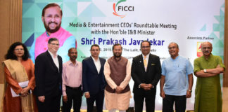 The Union Minister for Environment, Forest & Climate Change and Information & Broadcasting, Shri Prakash Javadekar at the round table meeting with the CEOs of Media and Entertainment sector, in New Delhi on July 23, 2019. The Secretary, Ministry of Information & Broadcasting, Shri Amit Khare and other dignitaries are also seen.