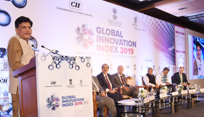 The Union Minister for Railways and Commerce & Industry, Shri Piyush Goyal addressing at the launch of the Global Innovation Index – 2019, in New Delhi on July 24, 2019. The Secretary, DPIIT, Shri Ramesh Abhishek and other dignitaries are also seen.