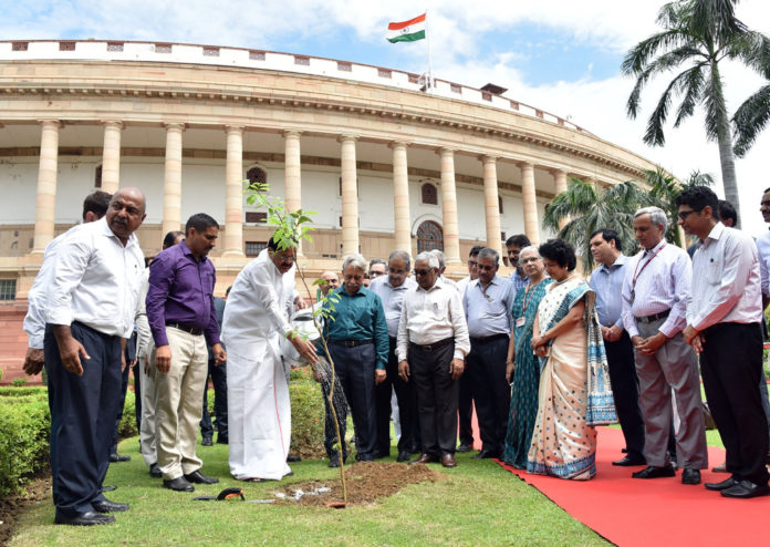 The Vice President, Shri M. Venkaiah Naidu planting a sapling at the premises of Parliament, on the occasion of completion of two years in office, in New Delhi on August 09, 2019.