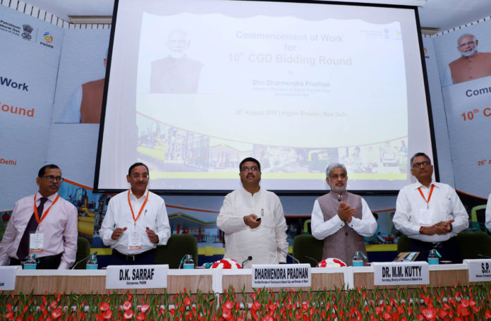 The Union Minister for Petroleum & Natural Gas and Steel, Shri Dharmendra Pradhan at the Commencement of work for 10th CGD Bidding Round, in New Delhi on August 26, 2019. The Secretary, Ministry of Petroleum & Natural Gas, Dr. M.M. Kutty and other dignitaries are also seen.
