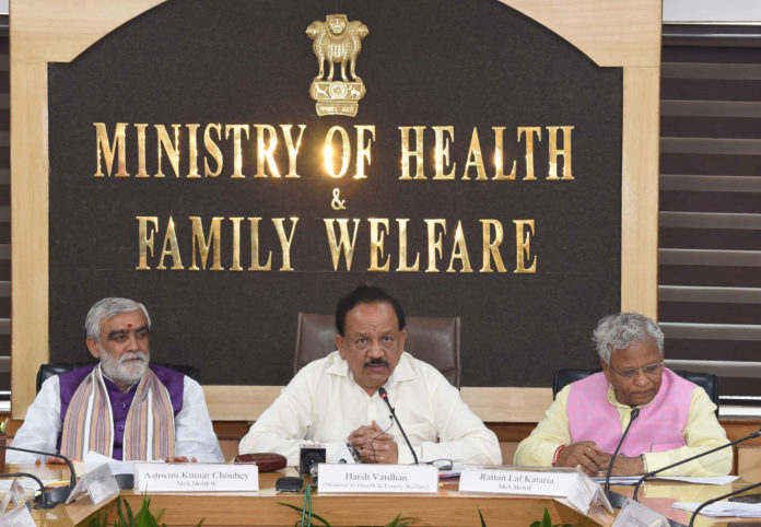 The Union Minister for Health & Family Welfare, Science & Technology and Earth Sciences, Dr. Harsh Vardhan addressing at the signing ceremony of a Memorandum of Understanding (MoU) between the Department of Social Justice, Ministry of Social Justice and Empowerment and National AIDS Control Organization (NACO), Ministry of Health and Family Welfare, in New Delhi on August 26, 2019. The Minister of State for Jal Shakti and Social Justice & Empowerment, Shri Rattan Lal Kataria and the Minister of State for Health & Family Welfare, Shri Ashwini Kumar Choubey are also seen.