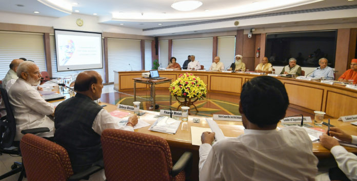 The Prime Minister, Shri Narendra Modi chairing a meeting of the Executive Committee (EC) for commemoration of 150th birth anniversary of Mahatma Gandhi, in New Delhi on August 30, 2019.