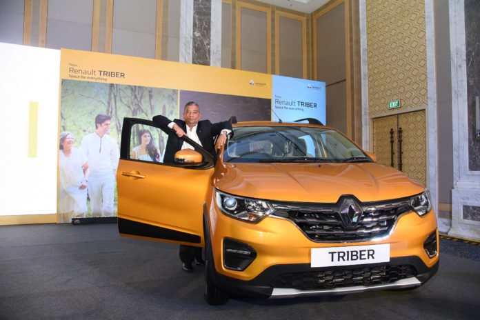 Venkatram Mamillapalle, Country CEO & Managing Director, Renault India Operations with the newly launched Reanult Triber.