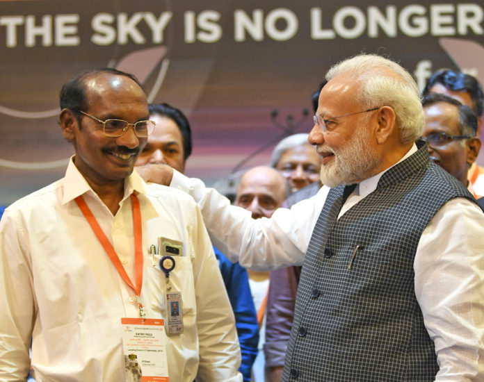 The Prime Minister, Shri Narendra Modi interacting with the scientists, at ISRO, in Bengaluru on September 07, 2019.