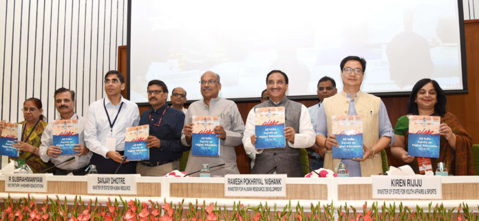 The Union Minister for Human Resource Development, Dr. Ramesh Pokhriyal 'Nishank' releasing the publication at the special meeting of the Central Advisory Board of Education(CABE), in New Delhi on September 21, 2019. The Minister of State for Youth Affairs & Sports (Independent Charge) and Minority Affairs, Shri Kiren Rijiju, the Minister of State for Human Resource Development, Communications and Information Technology, Shri Dhotre Sanjay Shamrao, the Secretary, Department of Higher Education, Shri R. Subrahmanyam and other dignitaries are also seen.
