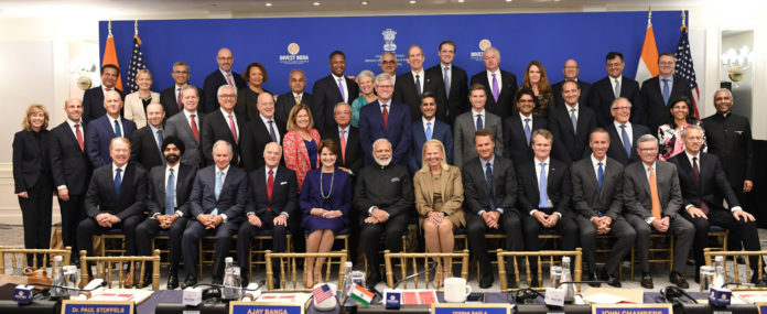 The Prime Minister, Shri Narendra Modi in a group photograph with the CEOs at a Roundtable, in New York, USA on September 25, 2019.