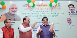 The Union Minister for Road Transport & Highways and Micro, Small & Medium Enterprises, Shri Nitin Gadkari at the launch of the Special Sales Campaign & launch of the KVI Product', at Khadi India Outlet, Connaught Place, in New Delhi on October 01, 2019.