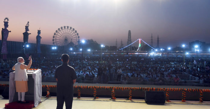 The Prime Minister, Shri Narendra Modi addressing the gathering during Dussehra Celebrations, at DDA Ground, Dwarka, in Delhi on October 08, 2019.