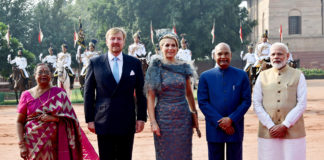 The President, Shri Ram Nath Kovind and the Prime Minister, Shri Narendra Modi with His Majesty King Willem-Alexander and Her Majesty Queen Maxima of the Kingdom of Netherlands, at the Ceremonial Reception, at Rashtrapati Bhavan, in New Delhi on October 14, 2019.