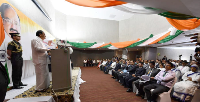 The Vice President, Shri M. Venkaiah Naidu addressing the gathering at the Indian Community reception, in Freetown, Sierra Leone on October 13, 2019.