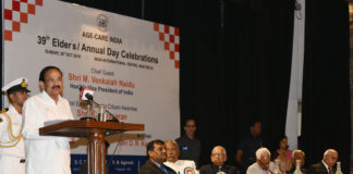 The Vice President, Shri M. Venkaiah Naidu addressing the gathering at the 39th Annual Day and Elder's Day celebration of Age Care India, in New Delhi on October 20, 2019.