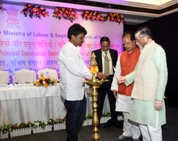 The Minister of State for Labour and Employment (Independent Charge), Shri Santosh Kumar Gangwar lighting the lamp to inaugurate the Eastern Regional Labour Conference, in Bhubaneswar on October 22, 2019.