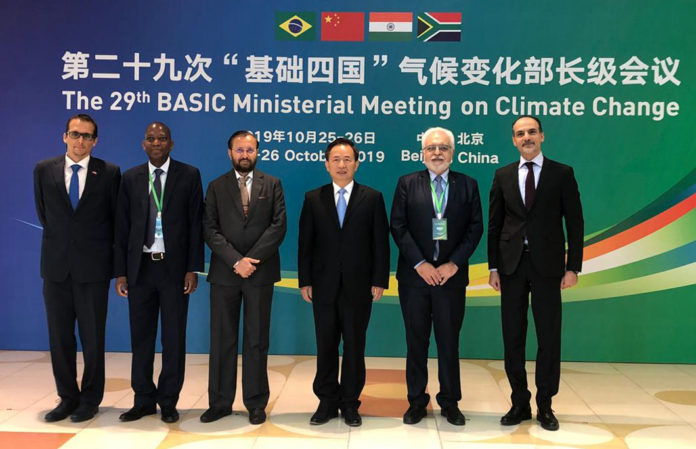 The Union Minister for Environment, Forest & Climate Change and Information & Broadcasting, Shri Prakash Javadekar and other dignitaries at the 29th ministerial meeting of the BASIC (Brazil, South Africa, India, China) countries on Climate Change, in Beijing, China on October 26, 2019.