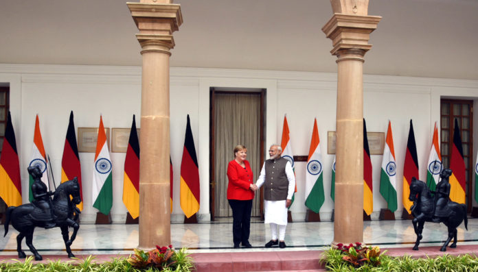 The Prime Minister, Shri Narendra Modi with the Chancellor of the Federal Republic of Germany, Dr. Angela Merkel, at Hyderabad House, in New Delhi on November 01, 2019.