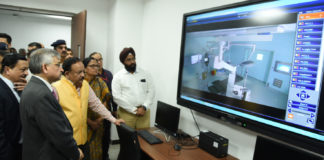 The Union Minister for Health & Family Welfare, Science & Technology and Earth Sciences, Dr. Harsh Vardhan visiting the National Cancer Institute, at Jhajjar, in Haryana on November 14, 2019.