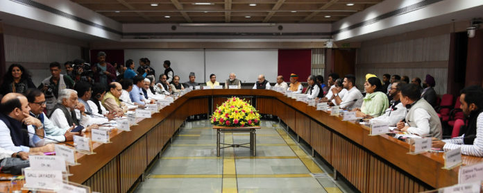 The Prime Minister, Shri Narendra Modi attending the All Parties Leaders Meet, in New Delhi on November 17, 2019.