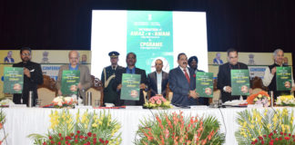 The Minister of State for Development of North Eastern Region (I/C), Prime Minister's Office, Personnel, Public Grievances & Pensions, Atomic Energy and Space, Dr. Jitendra Singh launching the integration of CPGRAMS Public Grievance Portal of Government of India and Awaaz-e-Awam Portal of Jammu & Kashmir at the inauguration of the two-day Conference on 'Ek Bharat Shreshta Bharat' with focus on 'Jal Shakti' and 'Disaster Management', organised by the Department of Administrative Reforms and Public Grievances (DARPG), Government of India, in collaboration with Governments of Tamil Nadu and Union Territory of Jammu & Kashmir, in Jammu on November 30, 2019. The Lieutenant Governor of Jammu and Kashmir, Shri G.C. Murmu, the J&K Chief Secretary, Shri B.V.R. Subrahmanyam and other dignitaries are also seen.