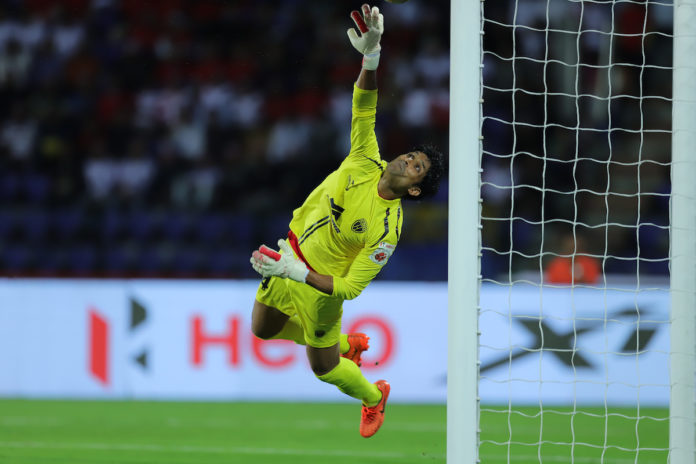 Subhasish Roy goalkeeper of Northeast United FC saves during match 7 of the Indian Super League ( ISL ) between NorthEast United FC vs Odisha FC held at the Indira Gandhi Athletic Stadium, Guwahati, India on the 26th October 2019. Photo by: Deepak Malik / SPORTZPICS for ISL