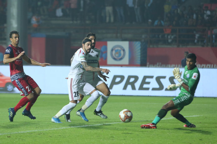Panagiotis Triadis delivered a last-gasp equaliser for NEUFC in their Hero ISL game against JFC on Monday.