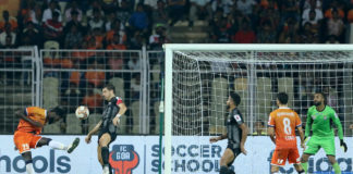 Mourtada Fall of FC Goa scores a goal during match 38 of the Indian Super League ( ISL ) between FC Goa and ATK held at the Jawaharlal Nehru Stadium, Goa, India on the 14th December 2019. Photo by: Vipin Pawar / SPORTZPICS for ISL