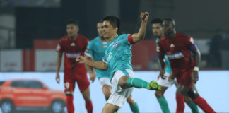 Sunil Chhetri scored from the spot for Bengaluru FC against NorthEast United FC in the Hero ISL today