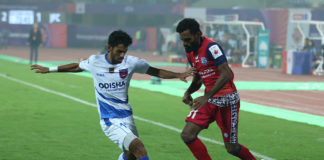 Local player Shubham Sarangi in action in Odisha FC's first-ever Hero ISL match at the Kalinga Stadium in Bhubaneswar against Jamshedpur FC on Friday