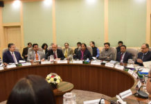 The Union Minister for Finance and Corporate Affairs, Smt. Nirmala Sitharaman holding 2nd Pre- Budget consultations with the stakeholder's groups from Financial Sector and Capital Markets, in New Delhi on December 16, 2019. The Minister of State for Finance and Corporate Affairs, Shri Anurag Singh Thakur and other dignitaries are also seen.
