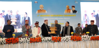 The Union Home Minister, Shri Amit Shah at the '1st Ground Breaking Ceremony of Himachal Pradesh Global Investors' Meet – 2019, in Shimla, Himachal Pradesh on December 27, 2019. The Governor of Himachal Pradesh, Shri Bandaru Dattatreya, the Chief Minister of Himachal Pradesh, Shri Jai Ram Thakur and the Minister of State for Finance and Corporate Affairs, Shri Anurag Singh Thakur are also seen.
