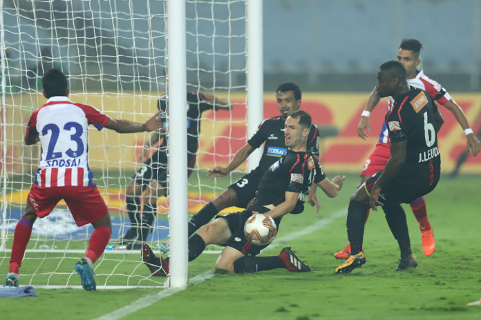 ATK celebrate their 1-0 win over NEUFC thanks to Balwant Singh's last-gasp goal in the Hero ISL today