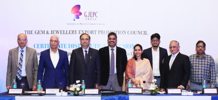 Left to Right : Mr. Sanjay Singh-Regional Director-Eastern Region, GJEPC ; Mr. Prakash Chandra Pincha, Regional Chairman-Eastern Region-GJEPC; Mr. Deep Shekhar, IRS – Principle Commissioner of Customs ; Mr. Sydney D'Silva, IRS-Additional Commissioner of Customs ; Dr.Tanisha Dutta, Deputy Commissioner of Customs; Mr.Rajnish Meena, Deputy Commissioner of Customs; Mr. Pankaj Parekh- Member-Eastern Region Committee, GJEPC; Mr. Hitesh Verma- Deputy Director-Indian Diamond Institute.