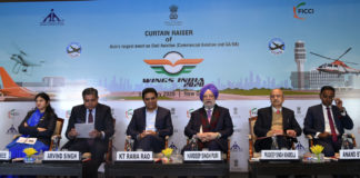 """The Minister of State for Housing & Urban Affairs, Civil Aviation (Independent Charge) and Commerce & Industry, Shri Hardeep Singh Puri at the Curtain Raiser Ceremony of """"WINGS INDIA-2020"""", in New Delhi on January 09, 2020. The Secretary (Civil Aviation), Shri Pradeep Singh Kharola and other dignitaries are also seen."""