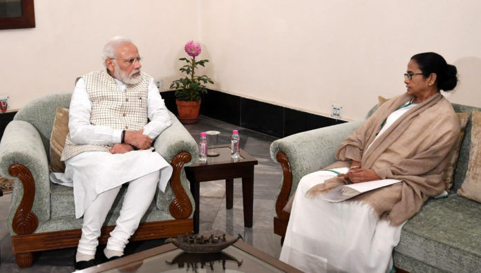 The Chief Minister of West Bengal, Ms. Mamata Banerjee meeting the Prime Minister, Shri Narendra Modi, in Kolkata on January 11, 2020.
