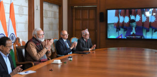 The Prime Minister, Shri Narendra Modi and the Prime Minister of Nepal, Shri K.P. Sharma Oli jointly inaugurate the Integrated Check Post, at Jogbani-Biratnagar through video conference, in New Delhi on January 21, 2020.