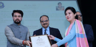 The Minister of State for Finance and Corporate Affairs, Shri Anurag Singh Thakur presenting the certificates of Appreciation to the officers of Customs, at the Investiture Ceremony and International Customs Day 2020, in New Delhi on January 27, 2020. The Revenue Secretary, Dr. Ajay Bhushan Pandey is also seen.