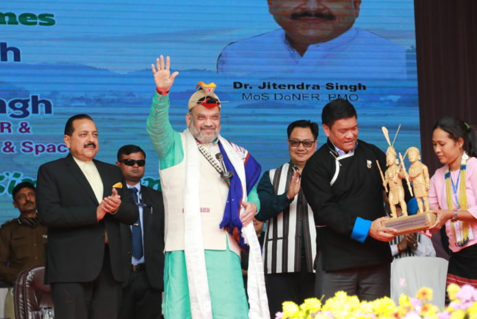The Union Home Minister, Shri Amit Shah presides over the 34th Statehood Day celebrations of Arunachal Pradesh, in Itanagar on February 20, 2020. The Minister of State for Development of North Eastern Region (I/C), Prime Minister's Office, Personnel, Public Grievances & Pensions, Atomic Energy and Space, Dr. Jitendra Singh, the Minister of State for Youth Affairs & Sports (Independent Charge) and Minority Affairs, Shri Kiren Rijiju and the Chief Minister of Arunachal Pradesh, Shri Pema Khandu are also seen.